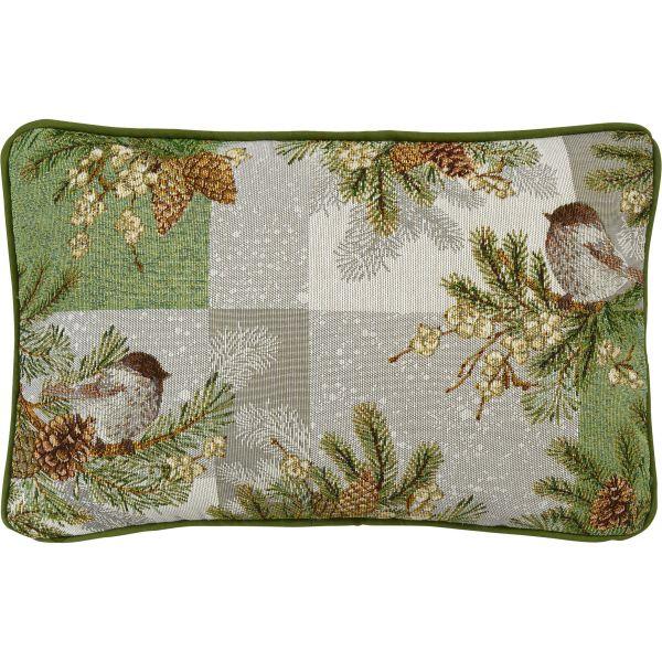 gefülltes Kissen Gobelin WINTER BIRD