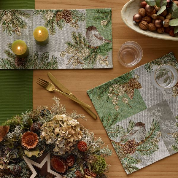 Tischläufer/Tischband Gobelin WINTER BIRD