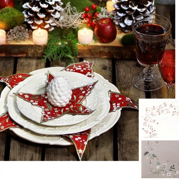 2er Set Deckchen Stern Weihnachten MISTLETOE (0)