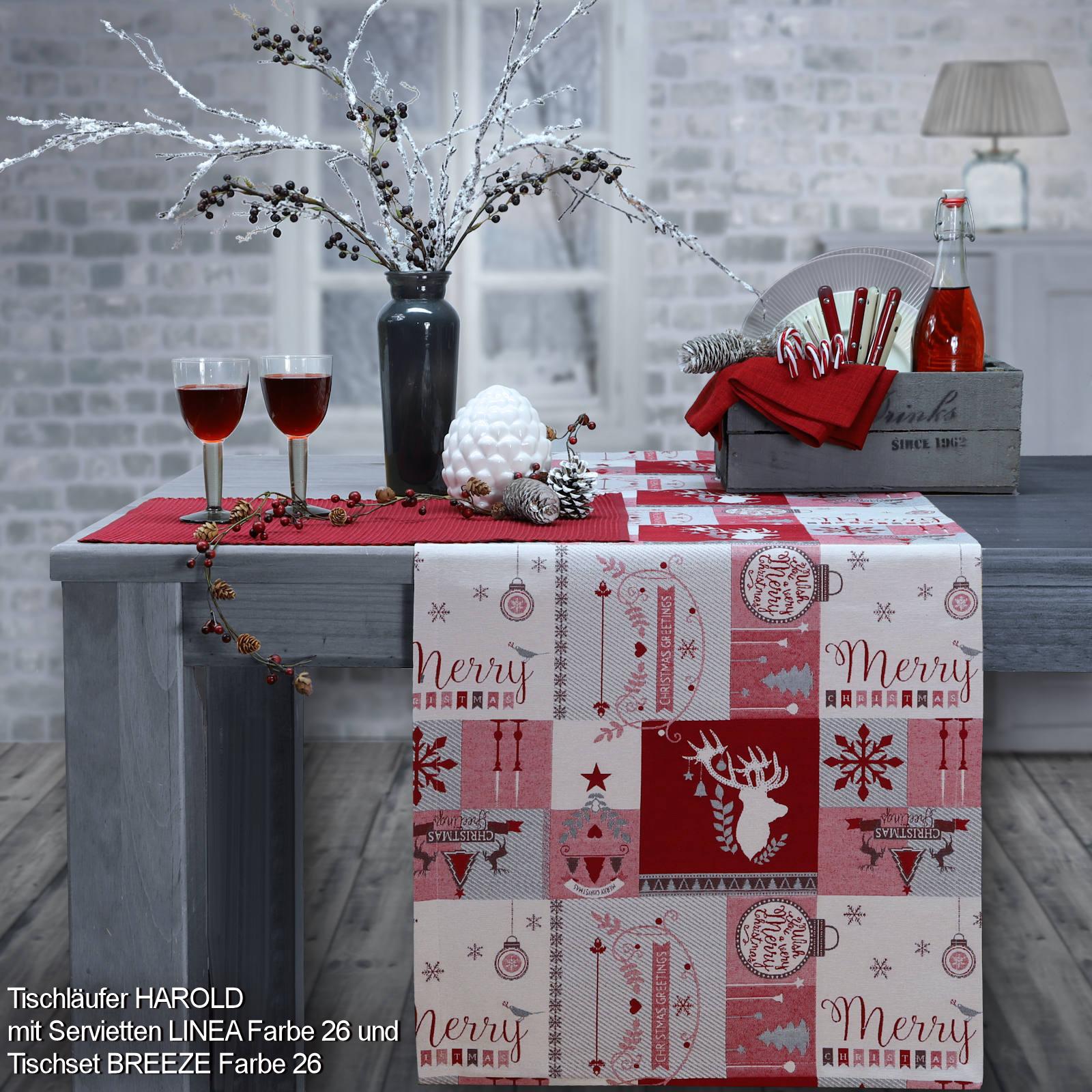 Weihnachtsmotive Patchwork Tischdecke Tischläufer Mitteldecke in Gobelin Rot