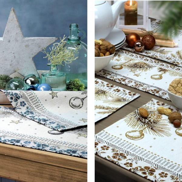 2 Sander Gobelin Tischsets Weihnachten WINTER FEELING, Farbe 77-blue fox (0)