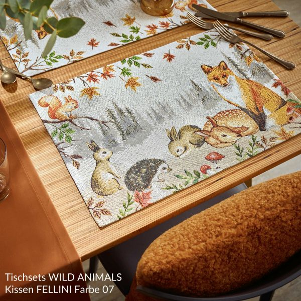 2 Gobelin Tischsets WILD ANIMALS