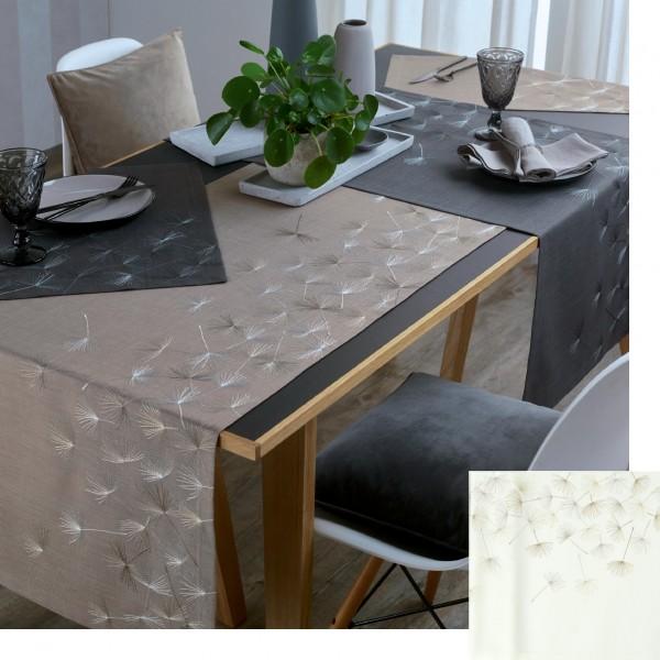 exklusive Tischläufer DANDELION mit handgeführter Stickerei, 50x150cm, Farbe 34-grafit (0)