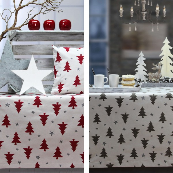 Weihnachtsmitteldecke STARS AND TREES, Farbe 19-sand (0)