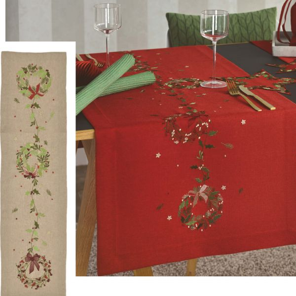 Tischläufer Weihnachten X-MAS GARLAND