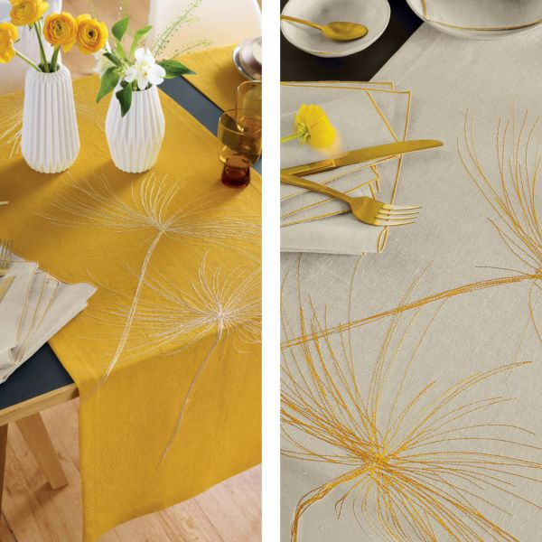 exclusiver Tischläufer ASTERA mit handgeführter Stickerei