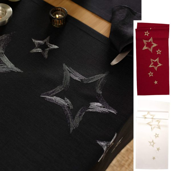 exclusiver Tischläufer STOKE mit handgeführter Stickerei