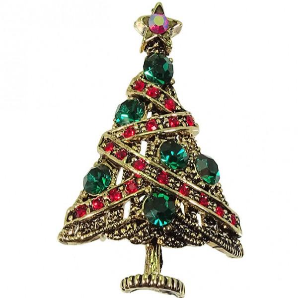 Weihnachtsbrosche Tannenbaum JOYFUL gold (0)