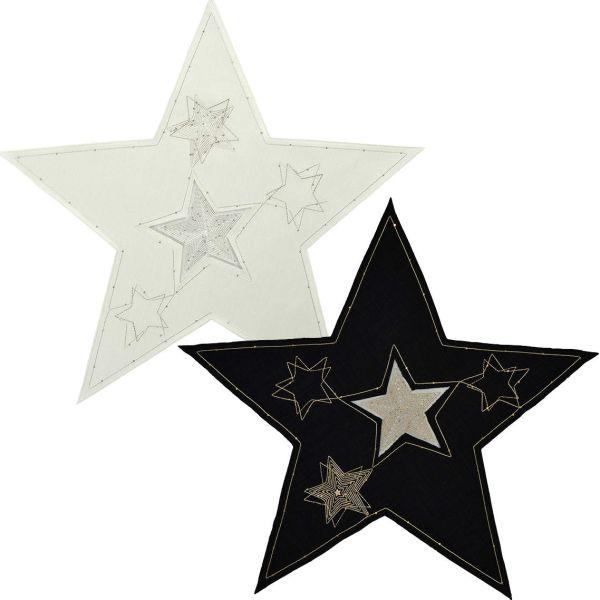 2 exclusive Deckchen Sterne LYRA in ecru und schwarz