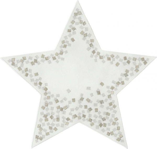 2 exklusive Aufleger Sterne SNOWFLAKES mit handgeführter Stickerei