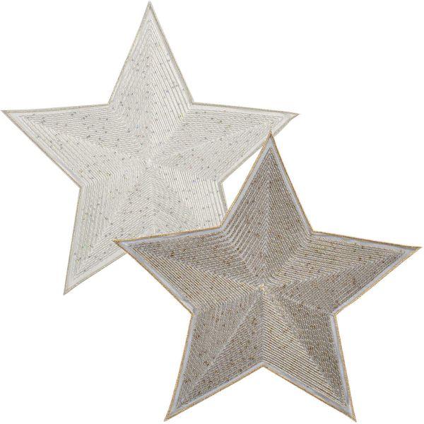 2 exclusive Deckchen Stern LYRA in gold und silber