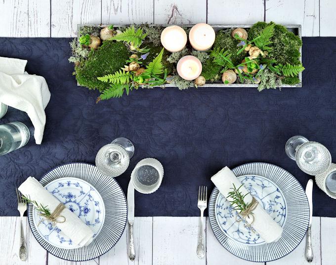 Tischdeko blauer Tischläufer
